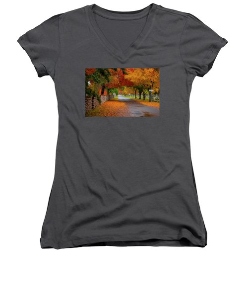 Fall In The Cemetery Women's V-Neck