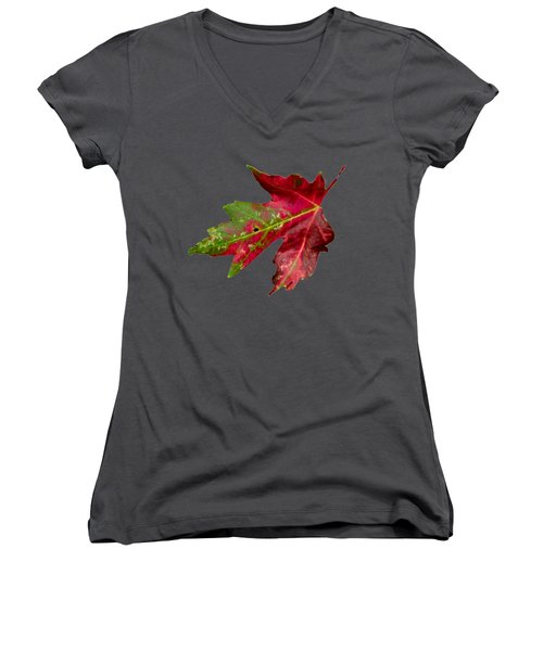Fall Leaf Women's V-Neck (Athletic Fit)