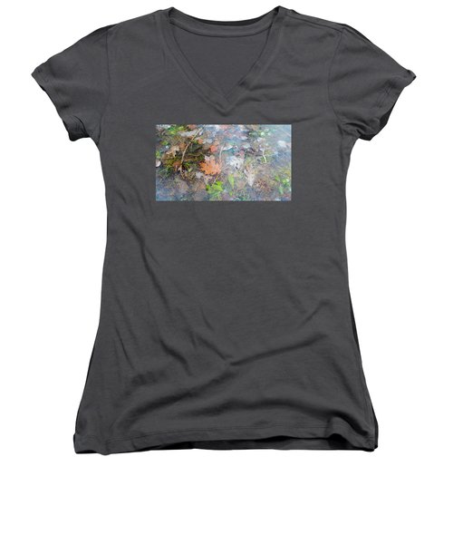 Fall Leaves In A Frozen Puddle Women's V-Neck