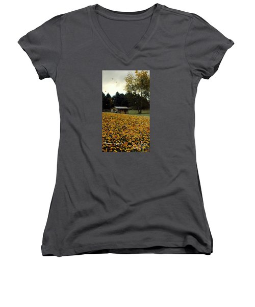 Women's V-Neck T-Shirt (Junior Cut) featuring the photograph Fall Leaves - No. 2015 by Joe Finney