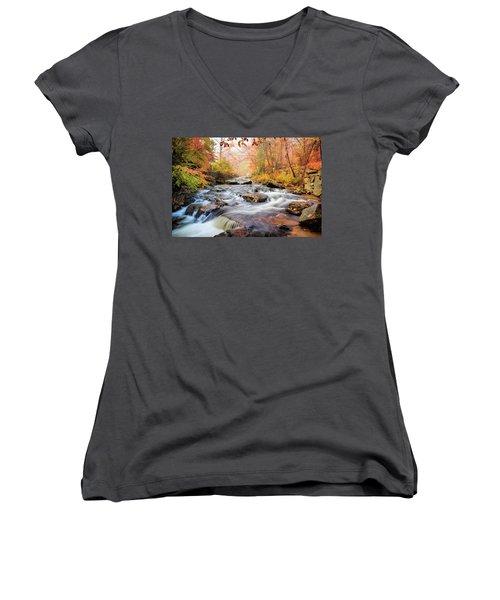 Fall Morning At Gunstock Brook Women's V-Neck T-Shirt