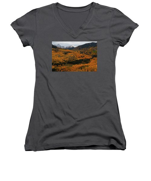 Fall On Full Display At Capitol Creek In Colorado Women's V-Neck T-Shirt