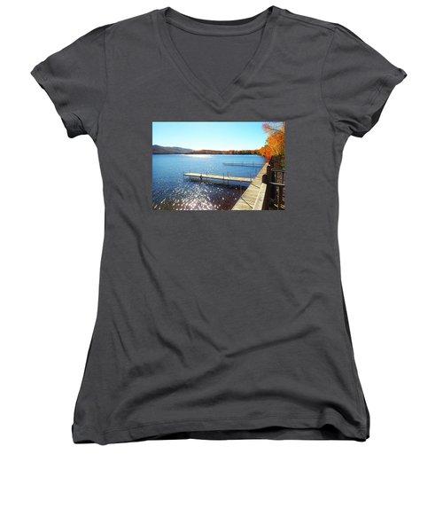 Fall On Lake Dunmore Women's V-Neck T-Shirt