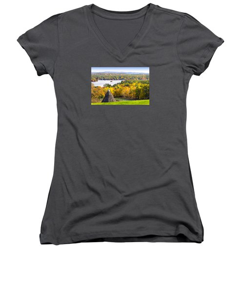 Women's V-Neck T-Shirt (Junior Cut) featuring the photograph Fall On Lake Winnipesaukee At Center Harbor by Betty Denise