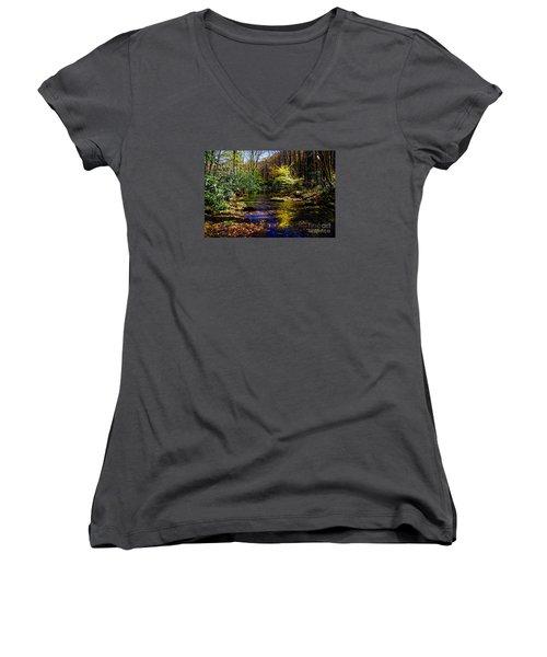 Fall On Rough Creek Women's V-Neck T-Shirt (Junior Cut) by Paul Mashburn