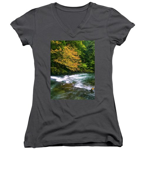 Fall On The Clackamas River, Or Women's V-Neck