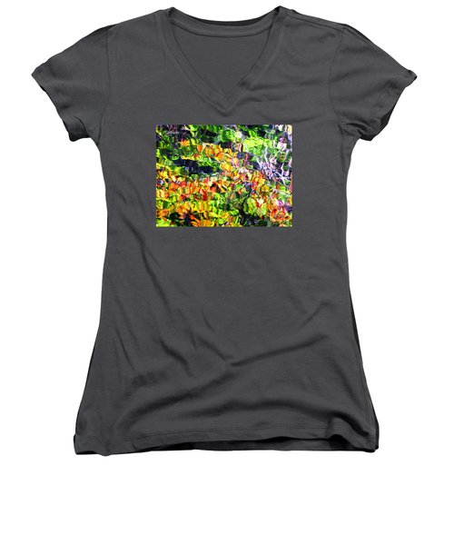 Fall On The Pond Women's V-Neck T-Shirt (Junior Cut) by Melissa Stoudt