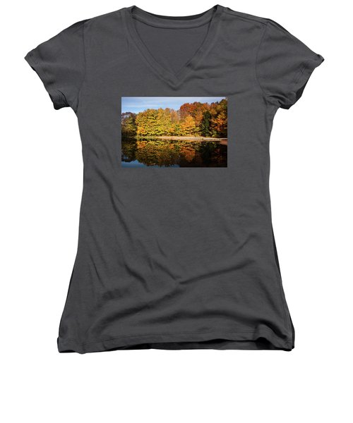 Fall Ontario Forest Reflecting In Pond  Women's V-Neck
