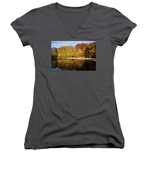 Fall Ontario Forest Reflecting In Pond  Women's V-Neck (Athletic Fit)