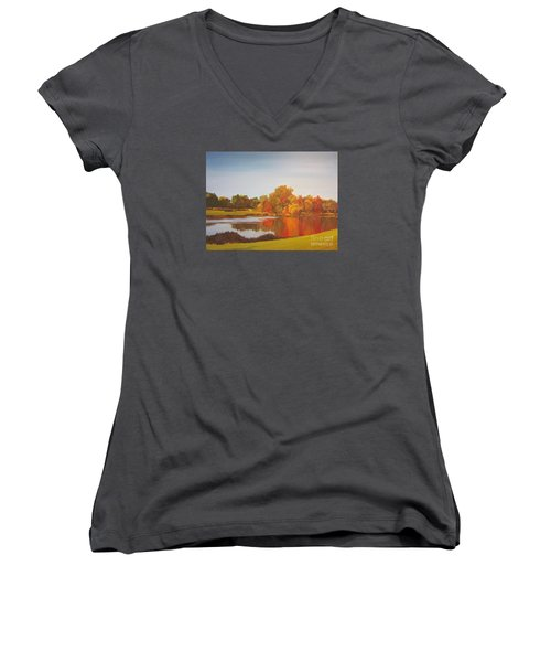 Fall Perfection Women's V-Neck T-Shirt (Junior Cut) by Elizabeth Carr