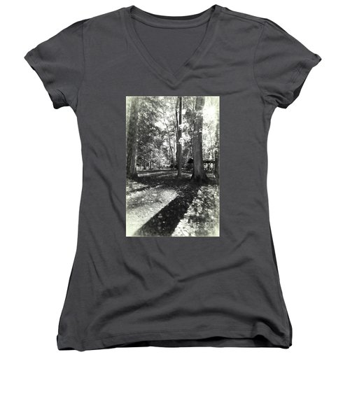 Fall Picnic Bw Painted Women's V-Neck T-Shirt (Junior Cut) by Judy Wolinsky