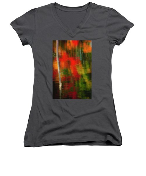 Fall Reflections Women's V-Neck T-Shirt (Junior Cut) by David Cote