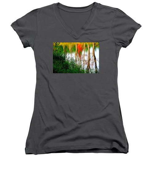 Women's V-Neck T-Shirt (Junior Cut) featuring the photograph Fall Reflections by Elfriede Fulda