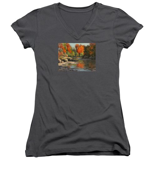 Women's V-Neck T-Shirt (Junior Cut) featuring the painting Fall Reflections by Karen Ilari
