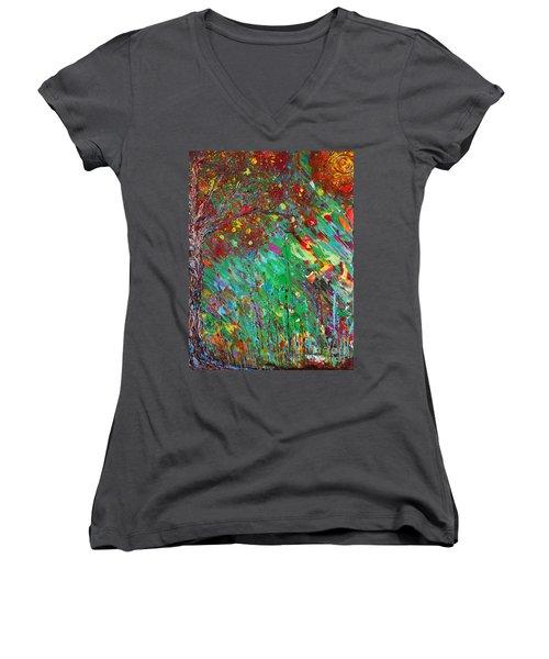 Fall Revival Women's V-Neck T-Shirt (Junior Cut) by Jacqueline Athmann