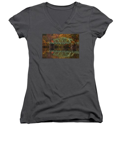Fall Rocks Village Bridge Women's V-Neck (Athletic Fit)