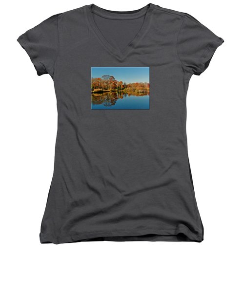 Fall Scene Women's V-Neck T-Shirt (Junior Cut) by Mikki Cucuzzo