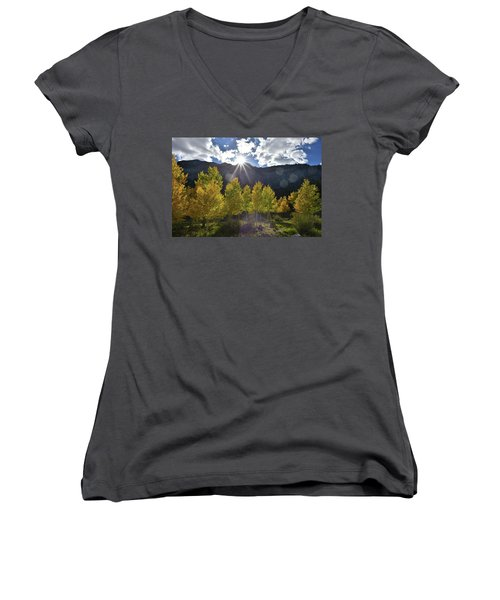 Fall Sun Setting Over Mt. Charleston Women's V-Neck