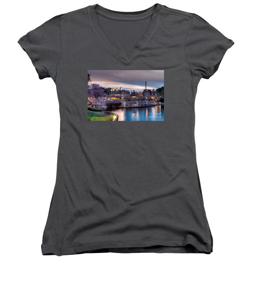 Fall Sunset Of France Women's V-Neck T-Shirt