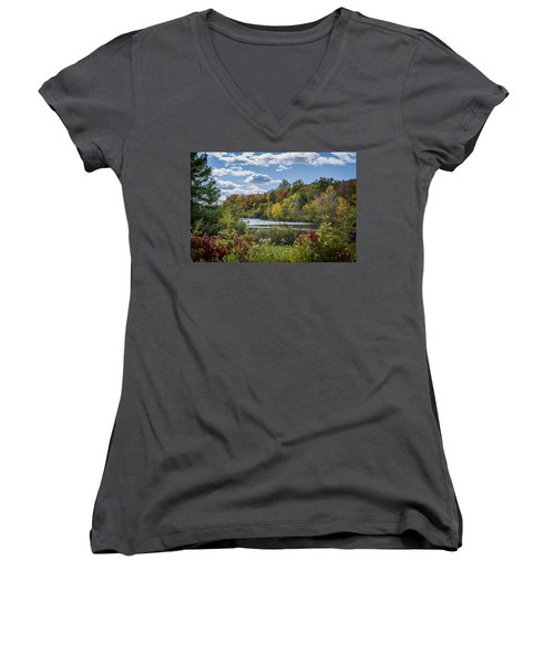 Fall Time On The Lake Women's V-Neck (Athletic Fit)