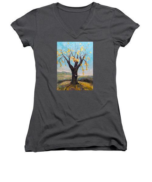 Women's V-Neck T-Shirt (Junior Cut) featuring the painting Fall Tree In Virginia by Becky Kim