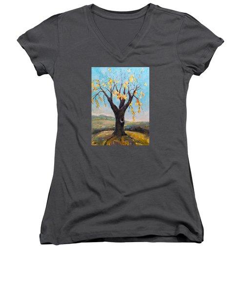 Fall Tree In Virginia Women's V-Neck T-Shirt (Junior Cut) by Becky Kim