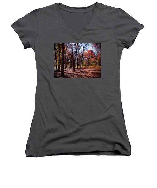 Fall Tree Shadows 2 Women's V-Neck T-Shirt (Junior Cut) by Cedric Hampton