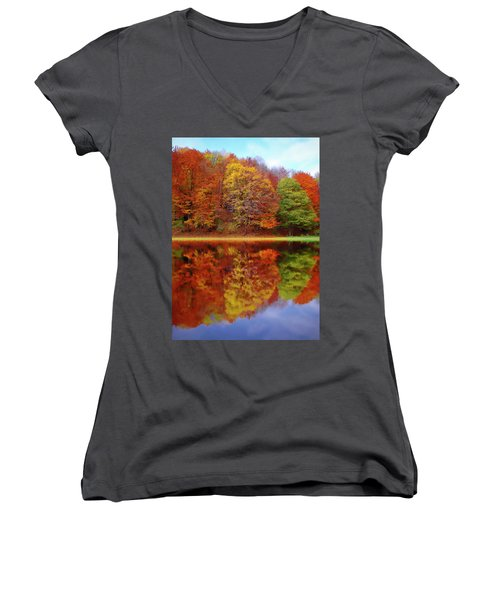 Women's V-Neck featuring the painting Fall Waters by Harry Warrick