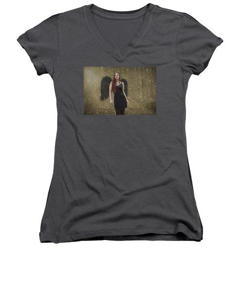 Fallen Angel Women's V-Neck T-Shirt (Junior Cut) by Brian Hughes