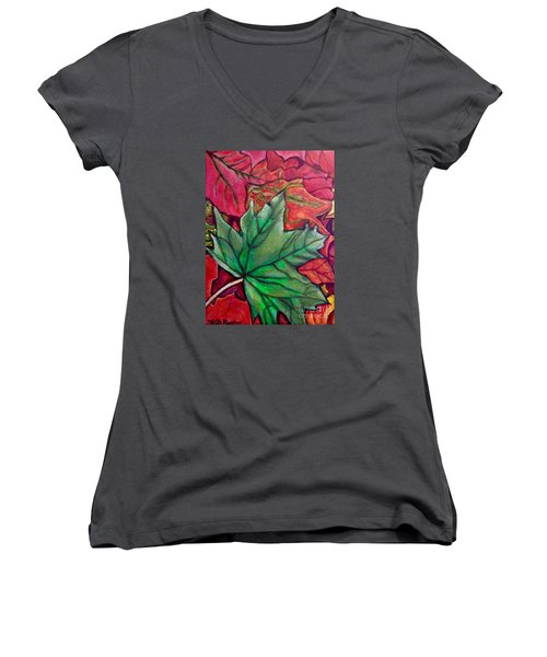 Fallen Green Maple Leaf In The Fall Women's V-Neck T-Shirt (Junior Cut) by Kimberlee Baxter
