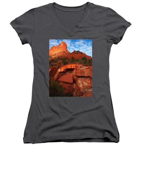Women's V-Neck T-Shirt (Junior Cut) featuring the photograph Fallen by James Peterson