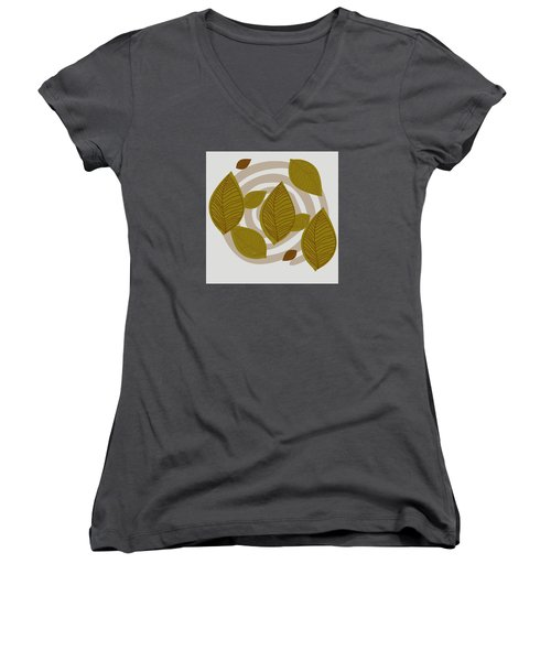 Falling Leaves Women's V-Neck T-Shirt (Junior Cut) by Kandy Hurley