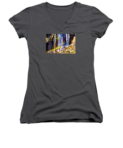 Women's V-Neck T-Shirt (Junior Cut) featuring the photograph Falling Rainbows by Anthony Baatz