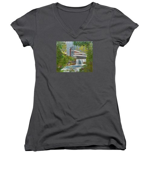 Women's V-Neck T-Shirt (Junior Cut) featuring the painting Falling Water by Jamie Frier