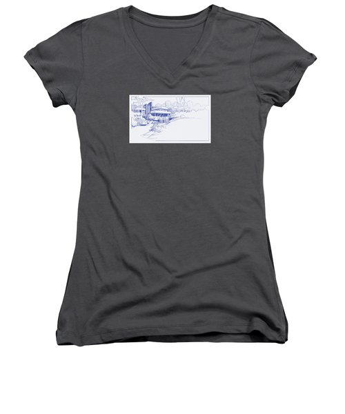 Fallingwater Blueprint Women's V-Neck (Athletic Fit)