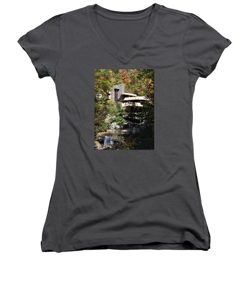 Fallingwater By Frank Lloyd Wright Women's V-Neck T-Shirt (Junior Cut) by Brendan Reals