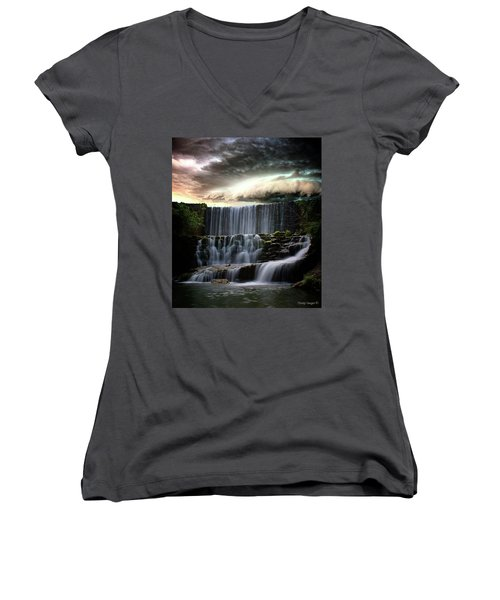 Falls At Mirror Lake Women's V-Neck (Athletic Fit)