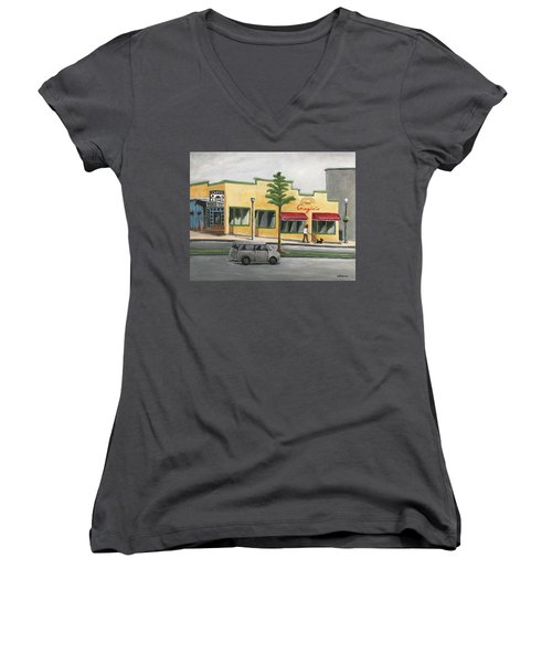 Women's V-Neck T-Shirt (Junior Cut) featuring the painting Falls Church by Victoria Lakes