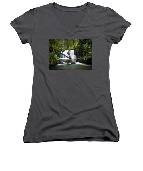 Falls On Canyon Creek Women's V-Neck (Athletic Fit)