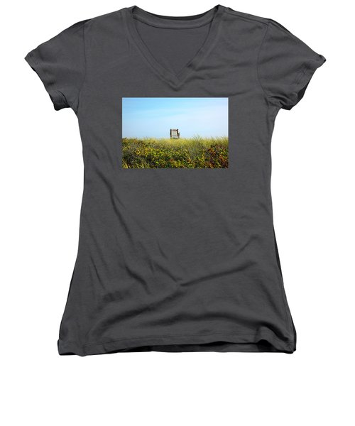 Women's V-Neck T-Shirt (Junior Cut) featuring the photograph Falmouth Beach Open 9-5 by Madeline Ellis
