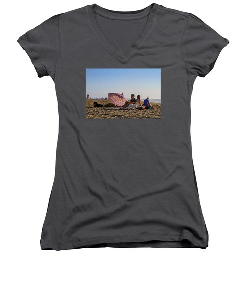 Family At Ocean Beach With Dogs Women's V-Neck
