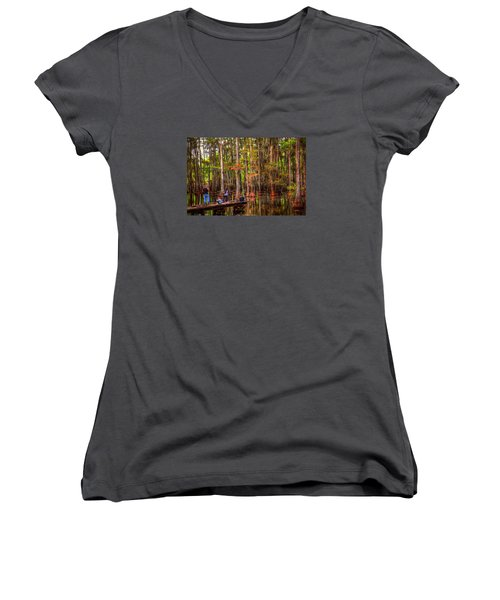 Family Bayou Fishing Women's V-Neck T-Shirt (Junior Cut) by Ester  Rogers