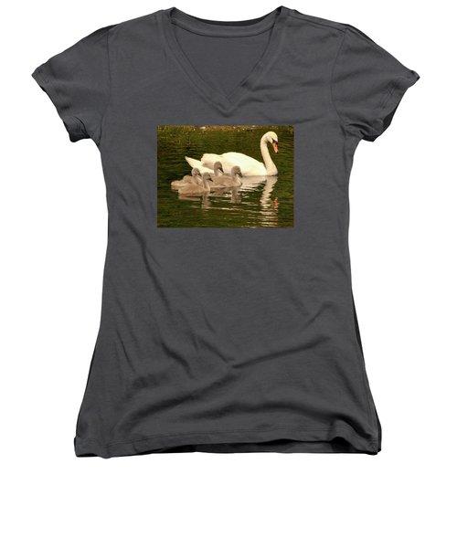 Family Swan  Women's V-Neck (Athletic Fit)