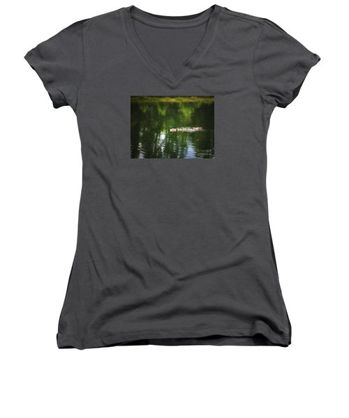 Women's V-Neck T-Shirt (Junior Cut) featuring the photograph Family Values  ... by Chuck Caramella