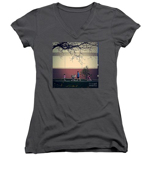 Family Walk To The Park Women's V-Neck (Athletic Fit)