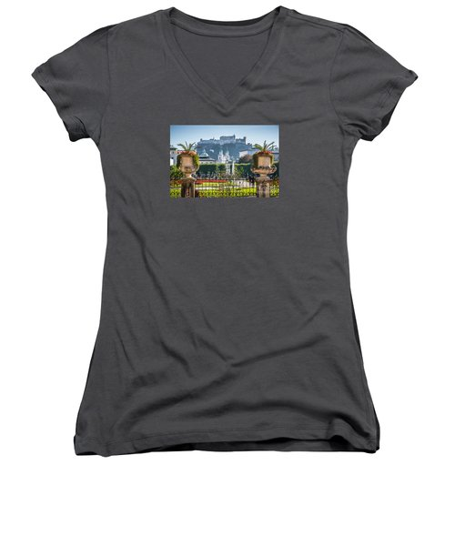 Famous Mirabell Gardens In Salzburg Women's V-Neck T-Shirt (Junior Cut) by JR Photography