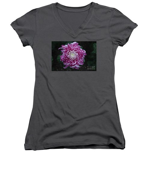 Fancy Chrysanthemum In Pink Women's V-Neck (Athletic Fit)