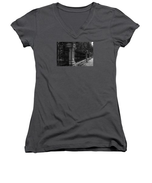 Fancy Fence Women's V-Neck T-Shirt (Junior Cut) by Celso Bressan