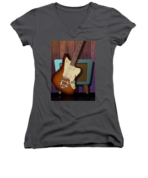 Women's V-Neck T-Shirt (Junior Cut) featuring the digital art Fano Retro by WB Johnston