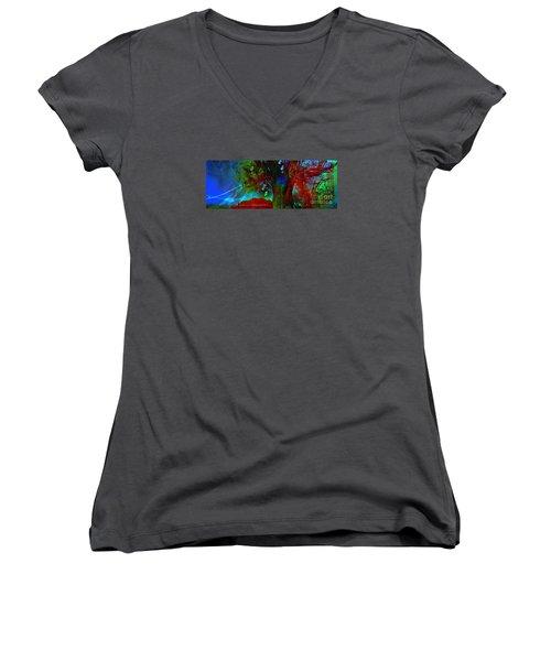 Women's V-Neck T-Shirt (Junior Cut) featuring the digital art Fanou's Story by Fania Simon